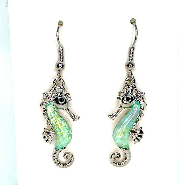 Blue Lab Opal Seahorse Earrings