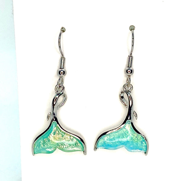 Light Blue Lab Opal Whaletail Earrings