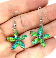 Blue Green Lab Opal Flower Earrings