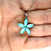 Light Blue Lab Opal Flower Necklace