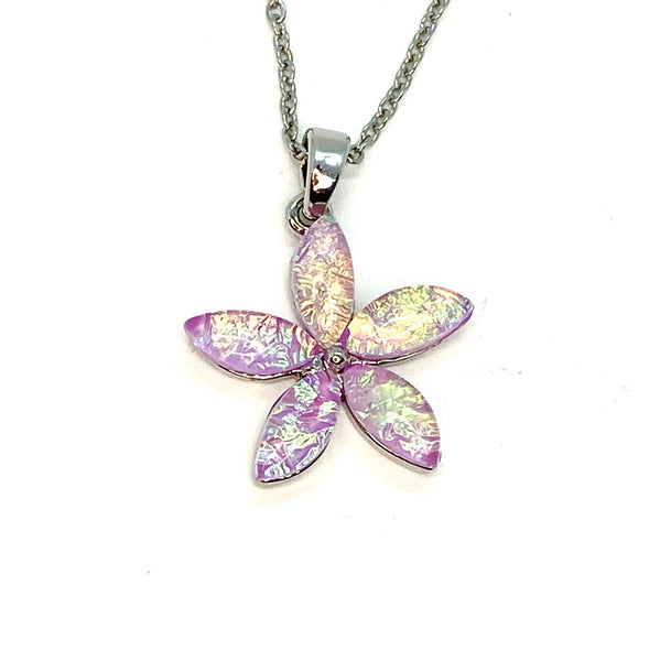 Pink Lab Opal Flower Necklace