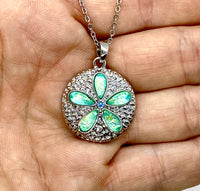 Light Blue Lab Opal Sand Dollar Necklace