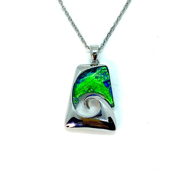 Blue Green Lab Opal Wave Necklace