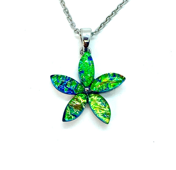 Blue Green Lab Opal Flower Necklace