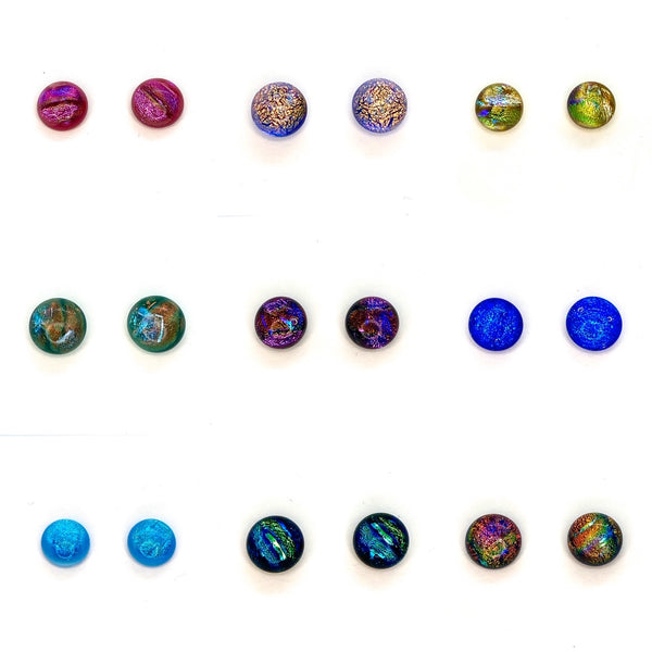 Iridescent Dichroic Glass Stud Earrings 12 colors BUY 2 GET 1 FREE!