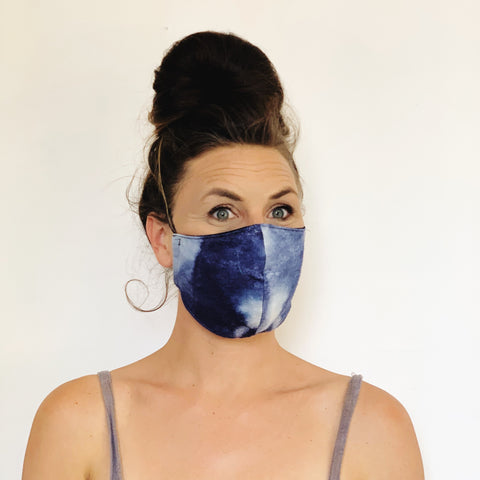 Fancy Face Mask- hand dyed raw silk