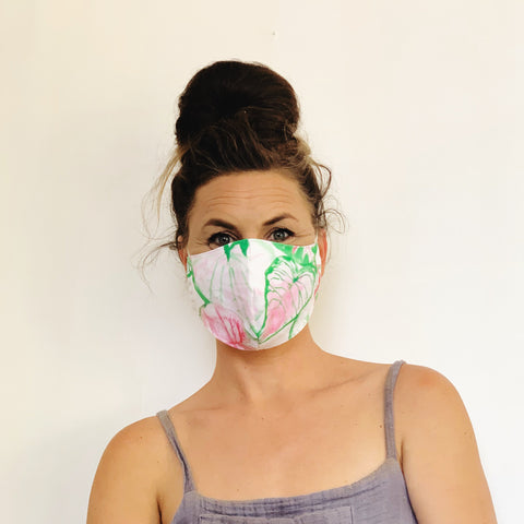 Fancy Face Mask- caladium leaf demin