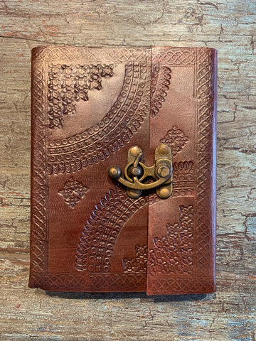 Small Handmade leather journal with Brass lock