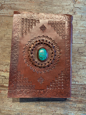 Small Handmade leather journal with stone