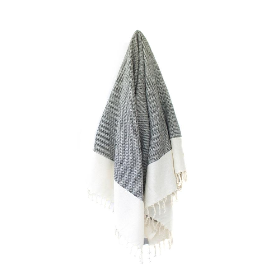 The 'Wavy Towel' by Toronto's Stray & Wander in Grey and Cream - 100% Hand-Loomed Organic Turkish Cotton Towel 100 x 180 cm. Ethically sourced directly from the artisans who make them. With it's beautiful detail and generous size, you can use it as a throw blanket too! You can find this beautiful towel in our gift baskets or add it you your cart when customizing your gift basket right on our site!