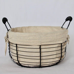 "Round Iron Basket With Canvas Liner 11""D"