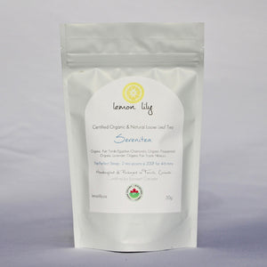 Lemon Lily 'Serenitea' - certified organic loose leaf tea. You can find this tea in our gift baskets or ad it to your cart when customizing your own gift basket
