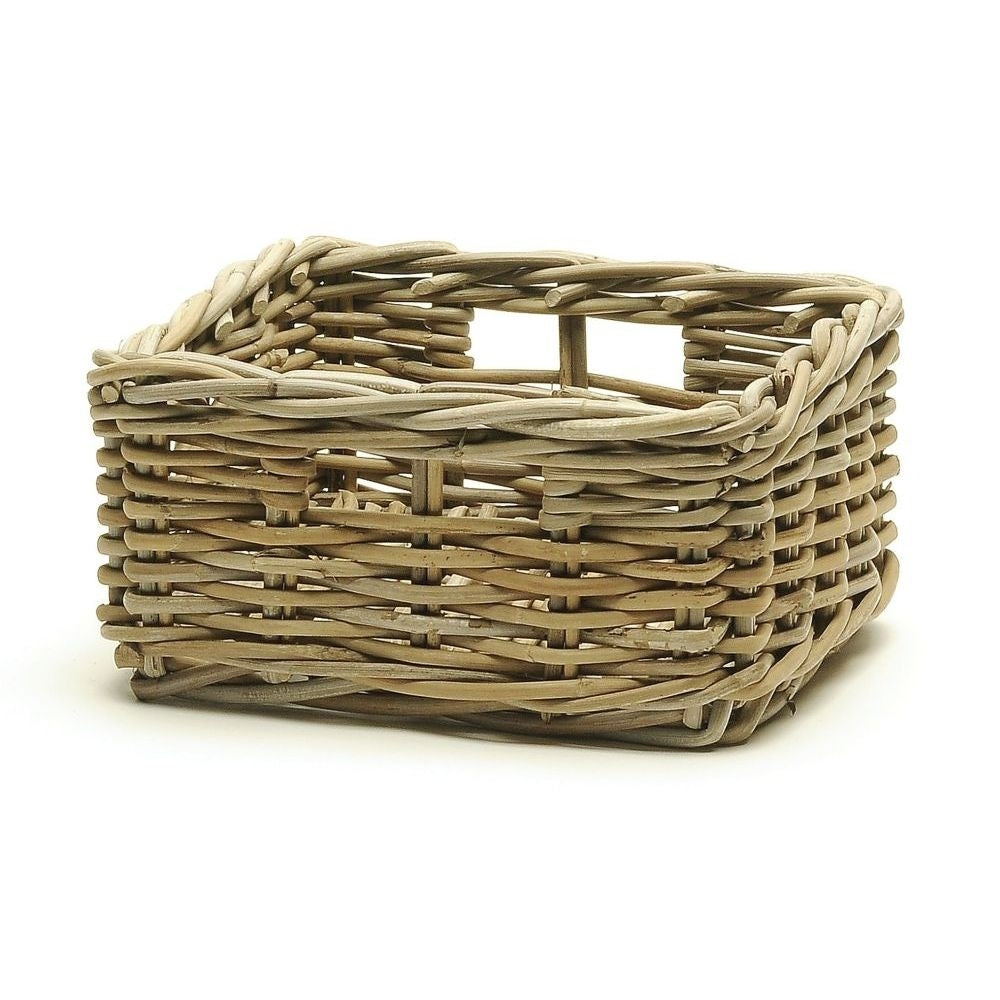 "This beautiful little rattan storage basket is 10""L x 9.5"" W x 5""H. Perfect for the bathroom, entry closet, bedroom closet, or even for the living room!"