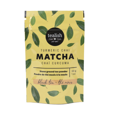 Tealish Turmeric Chai Matcha. This blend of stone ground black tea and chai spices, which are known for increasing energy, aiding in digestion and decreasing inflammation, can be used in lattes, smoothies, baking and more. You can find it in our gift baskets or add it to your own custom gift basket you build right on our site!