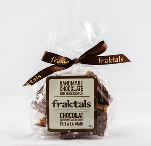 Fraktals Belgian Milk Chocolate Buttercrunch 225g - Handmade in Aurora, Ontario and is gluten-free, preservative free and non GMO. You can find them in our gift baskets or add it when creating your own custom gift basket with us!