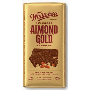 Whittaker's delicious and smooth 33% 5 Roll Refined Creamy Milk chocolate is packed with the finest freshly roasted whole almonds. You've discovered gold indeed! You can add this delicious chocolate in your cart when designing your gift basket right on our site!
