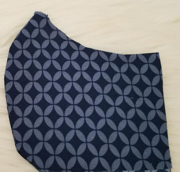 100% Cotton Blue and Navy Symmetrical Pattern