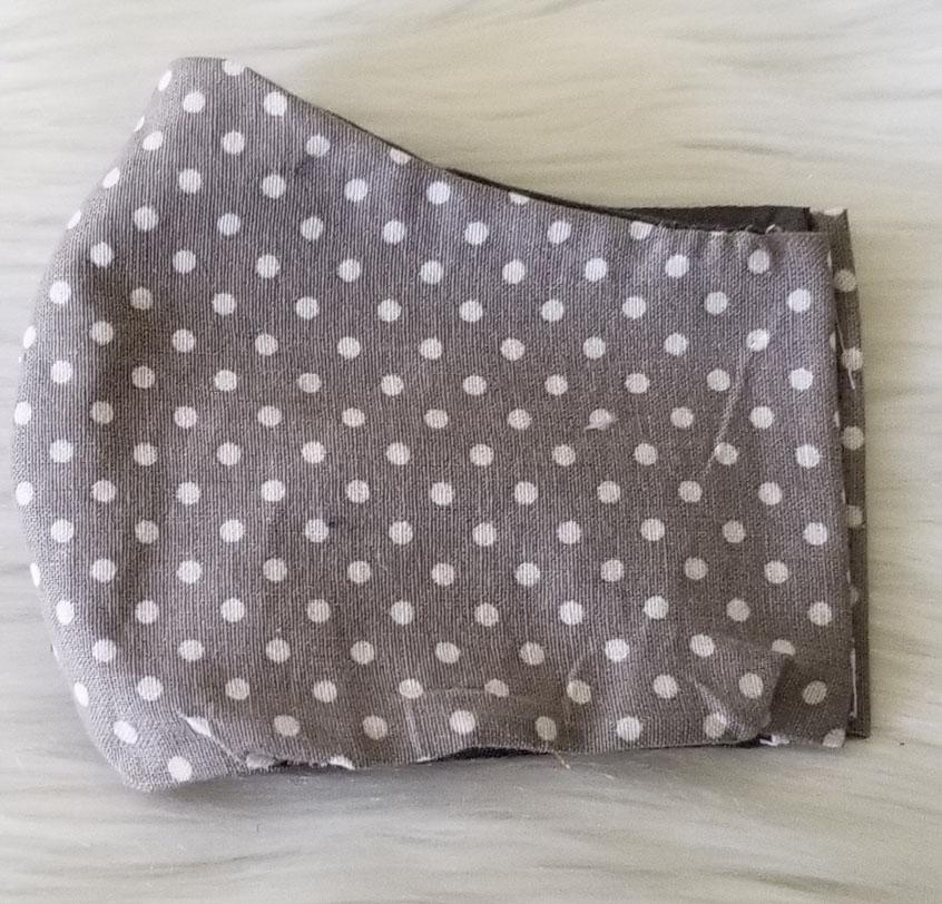 100% Cotton Grey and White Polka Dot