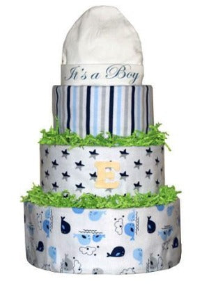 Blue, Grey, and White Diaper Cake
