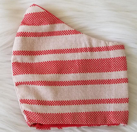 100% Cotton Red and Cream Stripe Mask