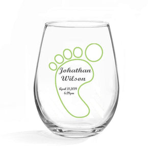 Birth Announcement Stemless Glass