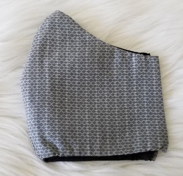 100% Grey and White Checkered Mask