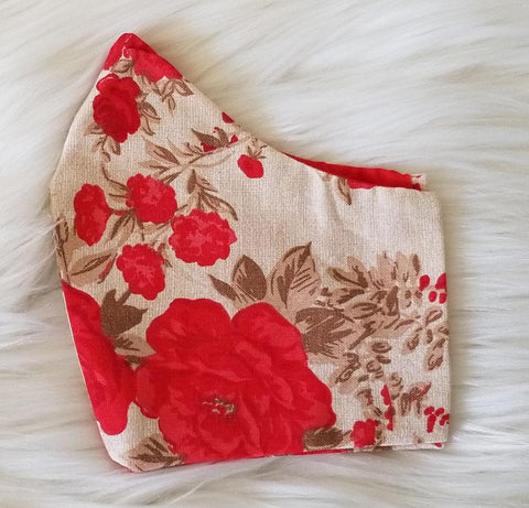 100% Red Rose Fabric Mask