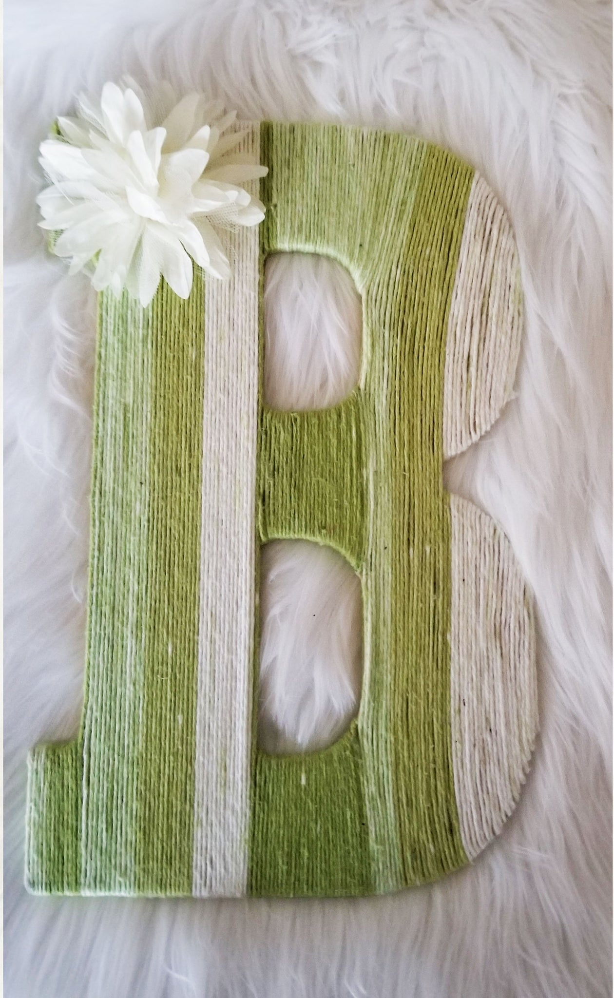 Green Ombre Yarn Covered Letter