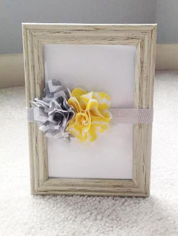 Headband- Grey, Yellow, and White Flower with Grey Headband