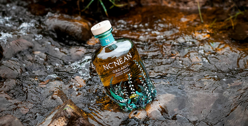 Nc'nean 100% recycled glass whisky bottle