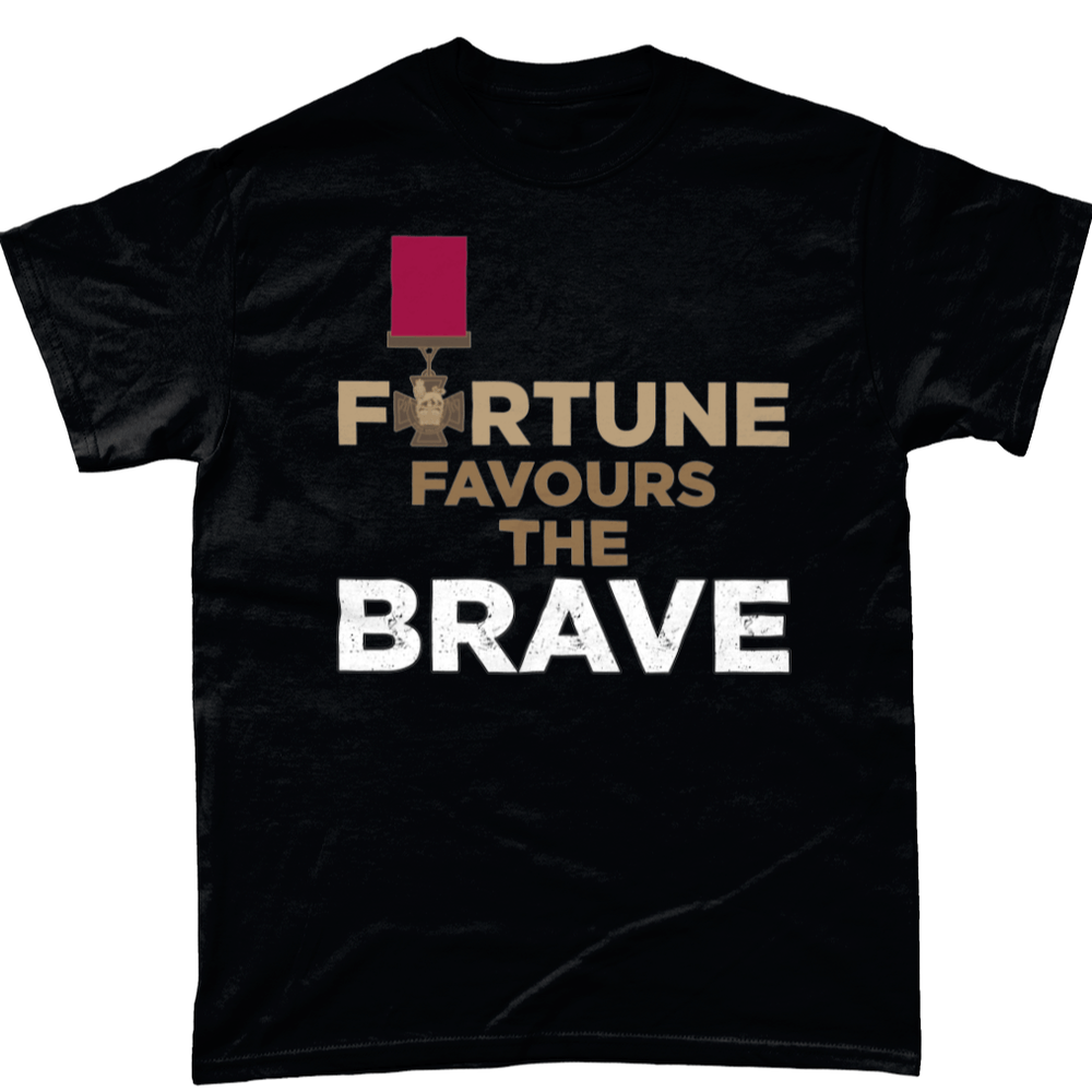 Black / Small Fortune Favours The Brave T Shirt