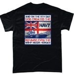 Black / Small God Created The Navy T Shirt