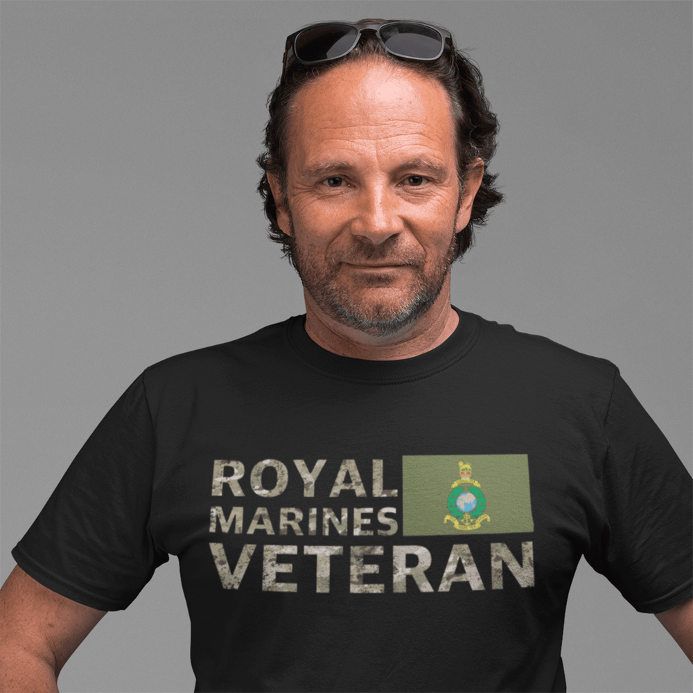 Black / Small Royal Marines Veteran T Shirt