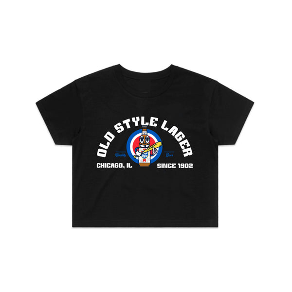 BASEBALL MAN CROP TEE - BLACK