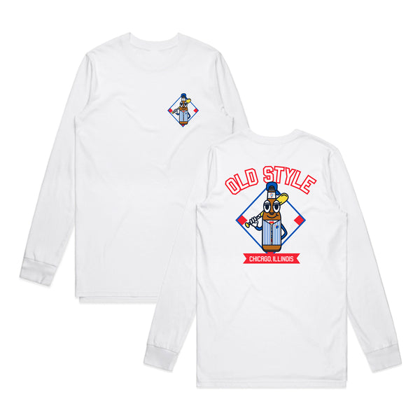BASEBALL COSTUME LONG SLEEVE TEE - WHITE
