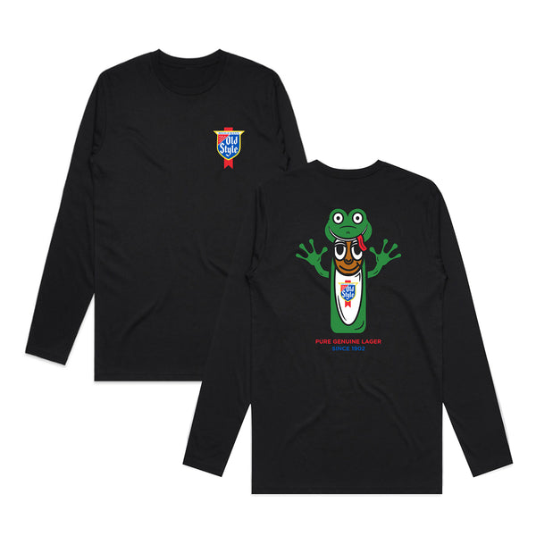 FROG MAN COSTUME LONG SLEEVE TEE - BLACK