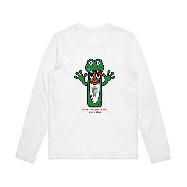 FROG MAN COSTUME WOMEN'S L/S TEE - WHITE