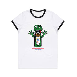 FROG MAN COSTUME WOMEN'S RINGER TEE- WHITE/BLACK