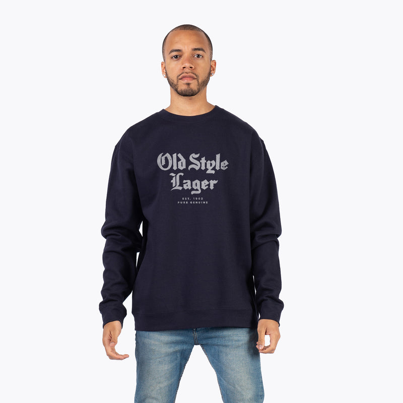 SCRIPTED CREW NECK - NAVY