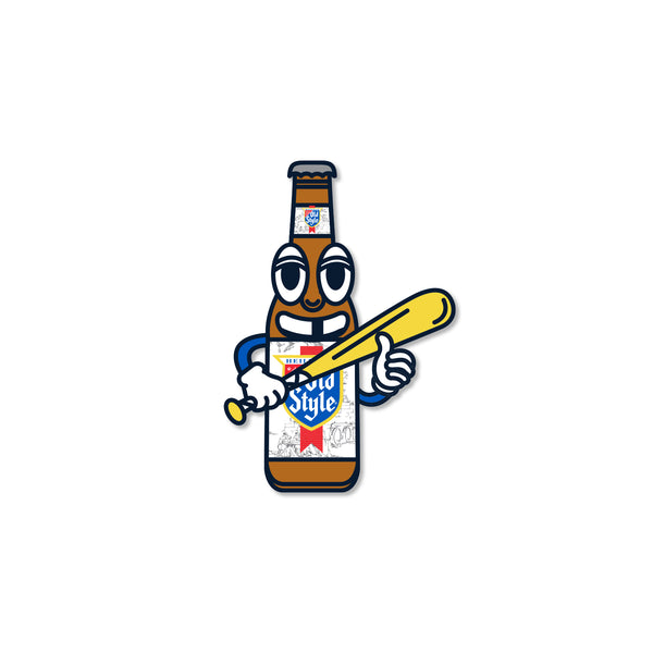 "OLD STYLE BASEBALL MAN STICKER (6"")"