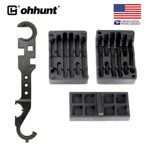 Ohhunt AR-15 / M4 / M16 Armorer's Combo Wrench Tool includes Castle Nut Wrench Barrel Nut Wrench Buttstock Tube Tool Muzzle Brake Flash Hider Handguard Tool