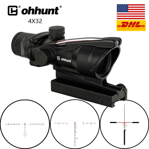 ohhunt® ACOG Style 4x32 Hunting Rifle Scopes Real Fiber Optics Red or Green
