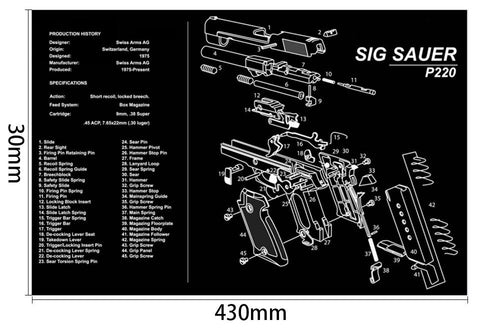 Ohhunt Armorers Bench Mat Gun Cleaning Mat P220 Parts Diagram & Instructions Gun Split Picture