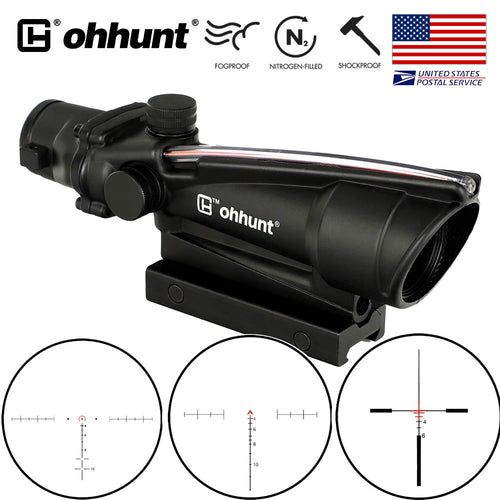 ohhunt 5X35 ACOG Style Three Model Reticle Red or Green Illuminated Tactical Rifle Scope for cal .223 .308