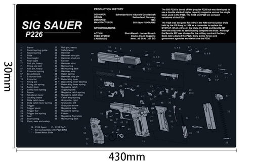 Ohhunt Armorers Bench Mat Gun Cleaning Mat p226 Parts Diagram & Instructions Gun Split Picture