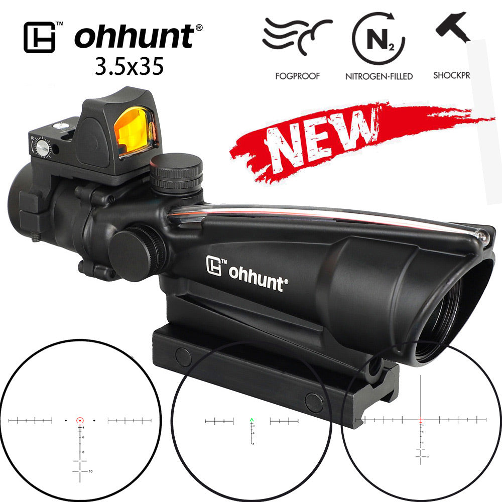 ohhunt ACOG Style 3.5X35 Real Optic Fiber Scope With Red Dot