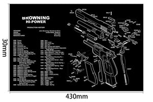 Ohhunt Armorers Bench Mat Gun Cleaning Mat HI-POWER Parts Diagram & Instructions Gun Split Picture