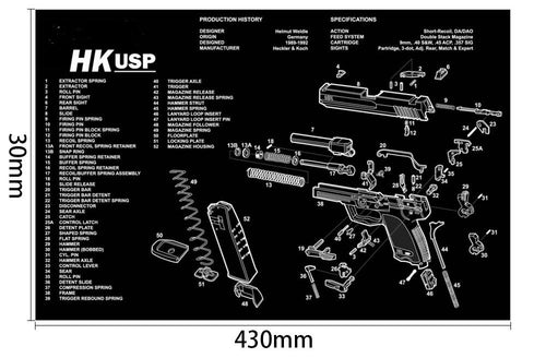 Ohhunt Armorers Bench Mat Gun Cleaning Mat HK USP Parts Diagram & Instructions Gun Split Picture