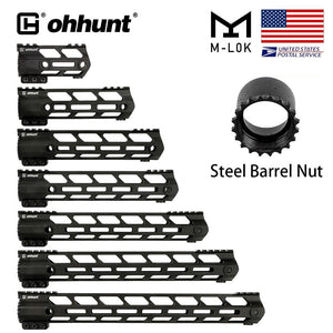 "ohhunt Tactical AR-15 Free Float M-Lok Lightweight Handguard 4"" 7"" 9"" 10"" 12"" 13.5"" 15"" With Steel Barrel Nut"