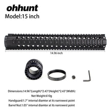 Load image into Gallery viewer, 15 Inch Free Float Quad Rail Handguard